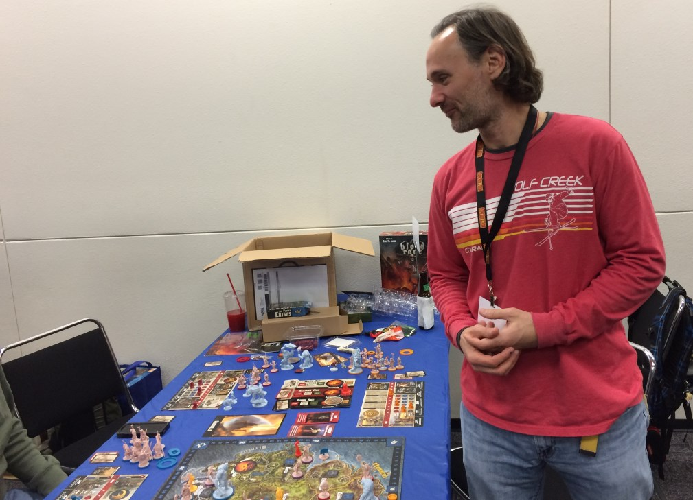 Matt about to explain why he had already lost the 5 player Blood Rage game.
